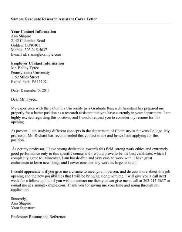 Cover Letter Template Research Assistant Cover Letter Template
