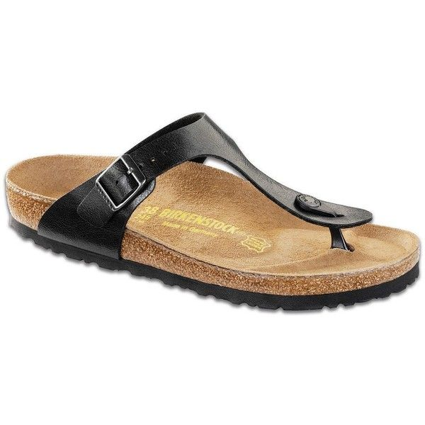 Birkenstock Women's Gizeh Thong Sandals ($95) ❤ liked on Polyvore featuring shoes, sandals, black, flat thong sandals, birkenstock sandals, black flat thong sandals, black wedge heel sandals and birkenstock shoes