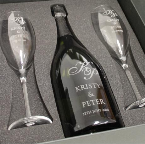 Bottle of Champagne and Glasses Etch