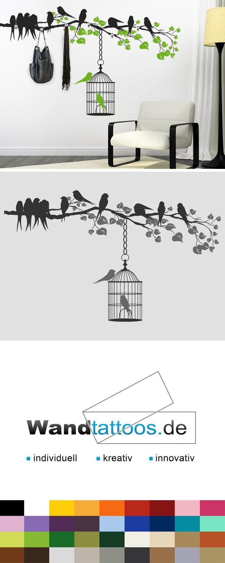 Wandtattoo Garderobe Ast mit Vogelkäfig als Idee zur individuellen Wandgestaltung. Einfach Lieblingsfarbe und Größe auswählen. Weitere kreative Anregungen von Wandtattoos.de hier entdecken!