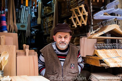 Man selling wooden products in Tahtakale, Istanbul