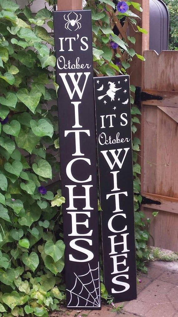 It S October Witches 5 Ft Porch Sign Reversible Distressed Etsy Porch Signs Painted Wood Signs Primitive Decorating