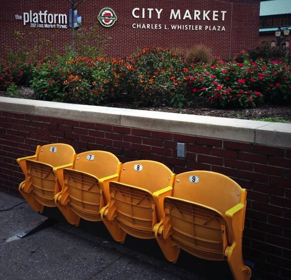 The folks at People for Urban Progress (PUP) in Indianapolis do some of the most interesting tactical urbanism projects around. They salvaged thousands of perfectly good seats from the city's old baseball stadium and have been installing them (with partners/sponsors) at otherwise unimproved bus stops around the city. Awesome idea.