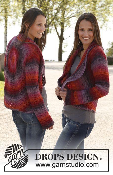 "Free pattern: Crochet DROPS jacket worked in a circle in 2 strands ""Alpaca"". Size: S - XXXL. ~ DROPS Design"