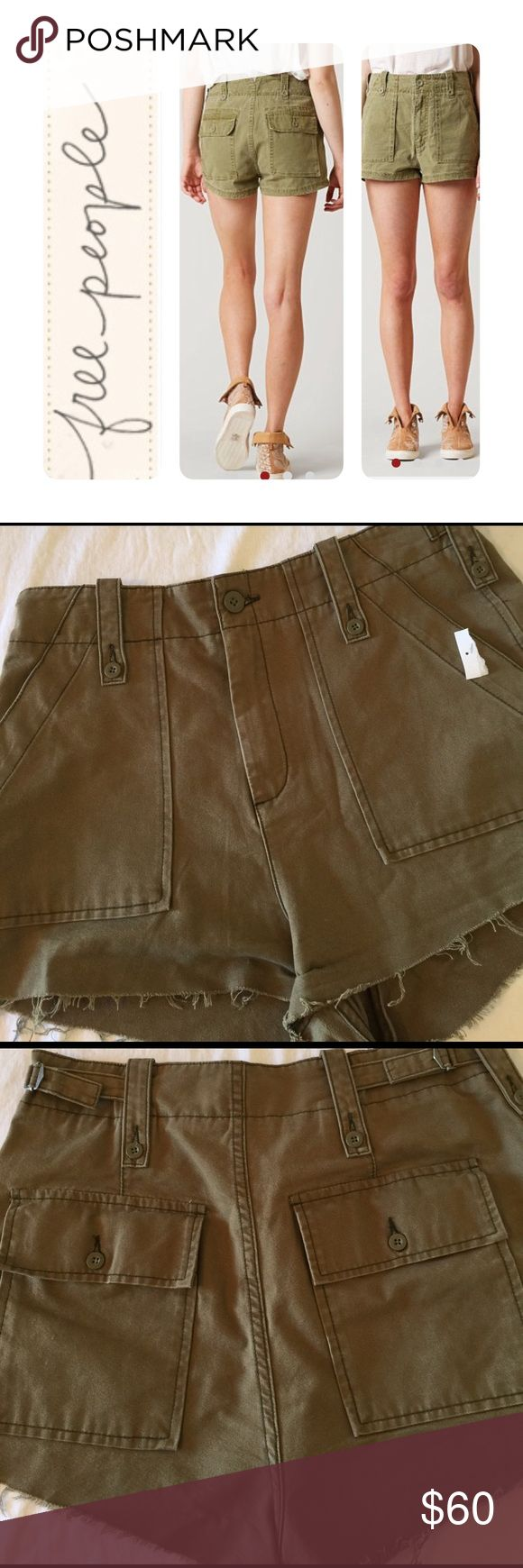 Free people, nwot, 12, military short Check out these awesome military shorts in moss, by free people..nwot, size 12, frayed hem.🚫no trades. roken-in Free People shorts with a high rise and tonal topstitching. Slant front pockets and 2 back pockets. Button closure and zip fly. Fabric: Duck canvas. 100% cotton. Hand wash or dry clean. Rise: 11.75in / 30cm. Inseam: 1.25in / 3cm. Fit. Rise: 11.75in / 30cm. Inseam: 1.25in / 3cm. Free People Shorts