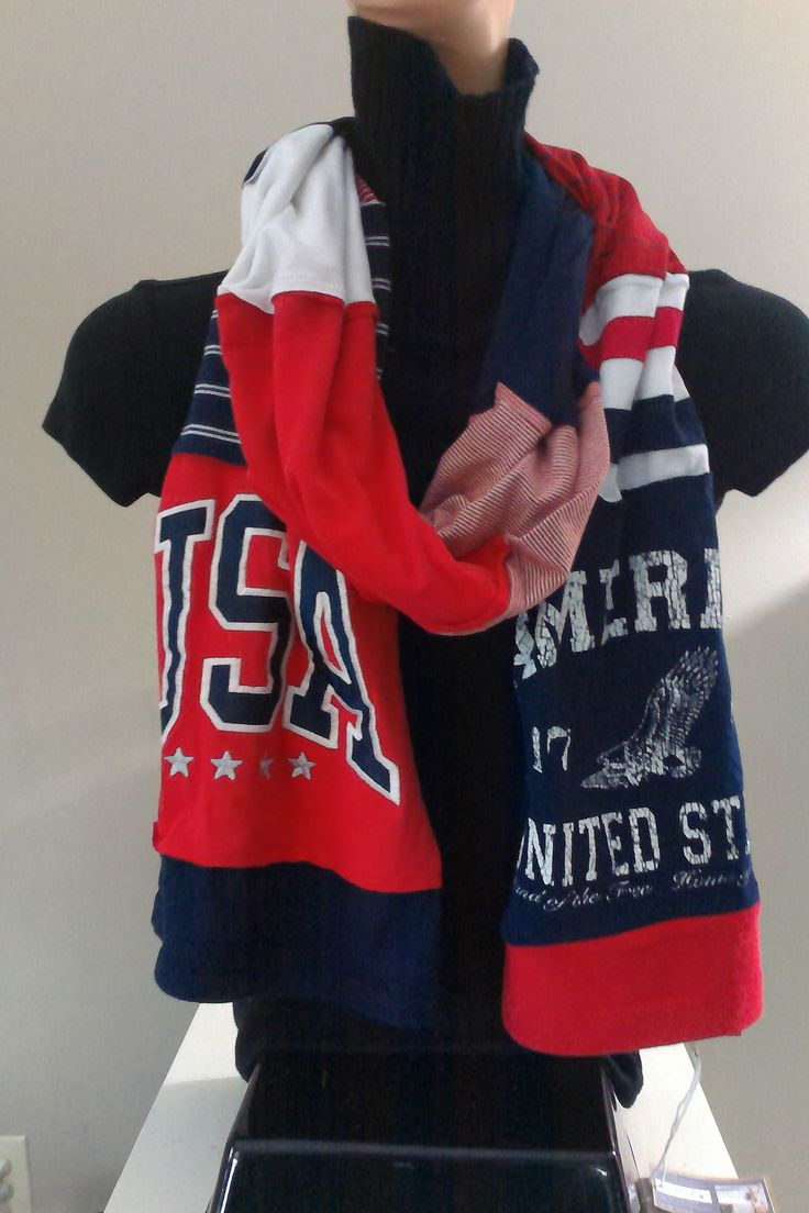 $15.00 - ITEM #USA01: American Red White and Blue Scarf. Measures approx. 84 in long.