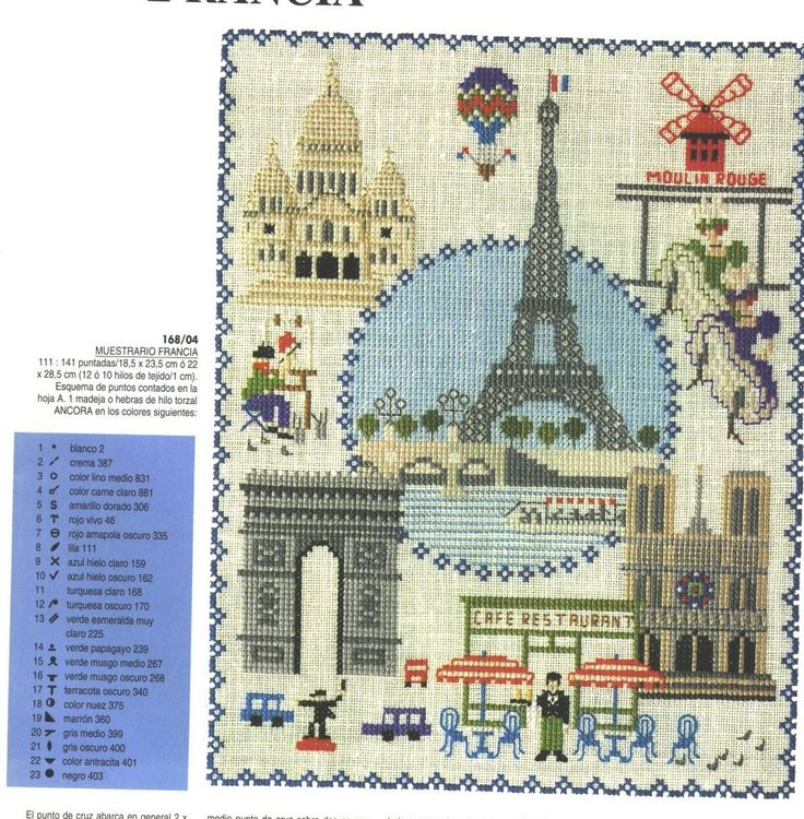 Paris Monuments 1 - photo of it finished w/all colors and color chart for floss.