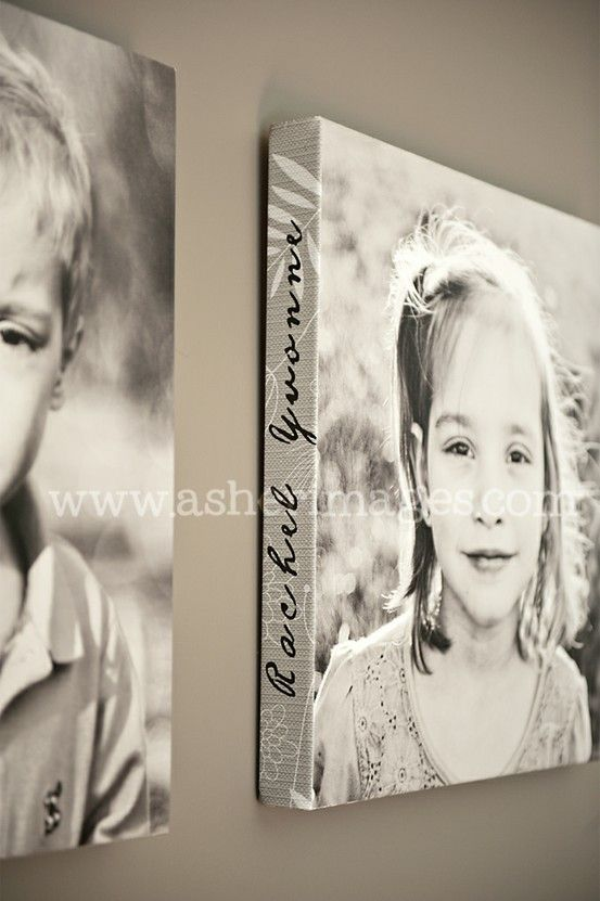 child's name on the side of the canvas – would be cool for an ancestor who's name might be forgotten