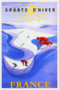 French Travel Poster Sports D'Hiver Skiing 1930s