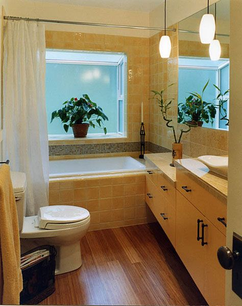 Aesthetic Asian Inspired Bathroom Design: Contemporary Asian Bathroom With  Beige Tiles,Simple Wooden Furniture