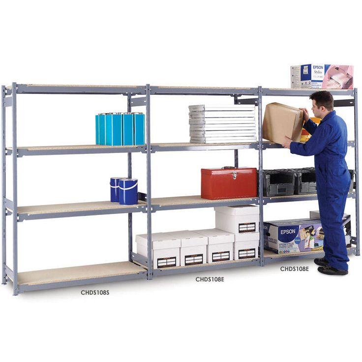 Medium Duty Widespan Shelving Starter Bay with 4 Chipboard Shelves