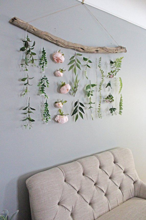 Boho Home Decor Flower Wall Hanging Boho Flower Wall Hanging Boho Wall Hanging Greenery Hanging Wall Hanging Hanging Flower Wall Diy Flower Wall Boho Wall Hanging