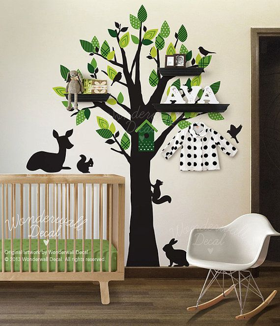 Wandtattoo Baum, Kinder, Kindergarten, Kaninchen, Eichhörnchen, Hirsch Wall Decal, Wandaufkleber, Wand Dekor