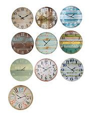 Large Wall Clock 60cm | Coloured Boards, Numbers, Beach, Teal Boards, Indigo