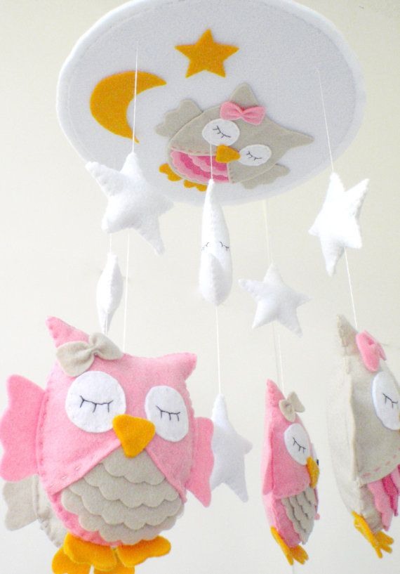 "Baby Crib Mobile - Baby Mobile - Nursery Crib Mobile - Pink and Beige Owl Mobile ""Sleeping Owls"". $90.00, via Etsy."