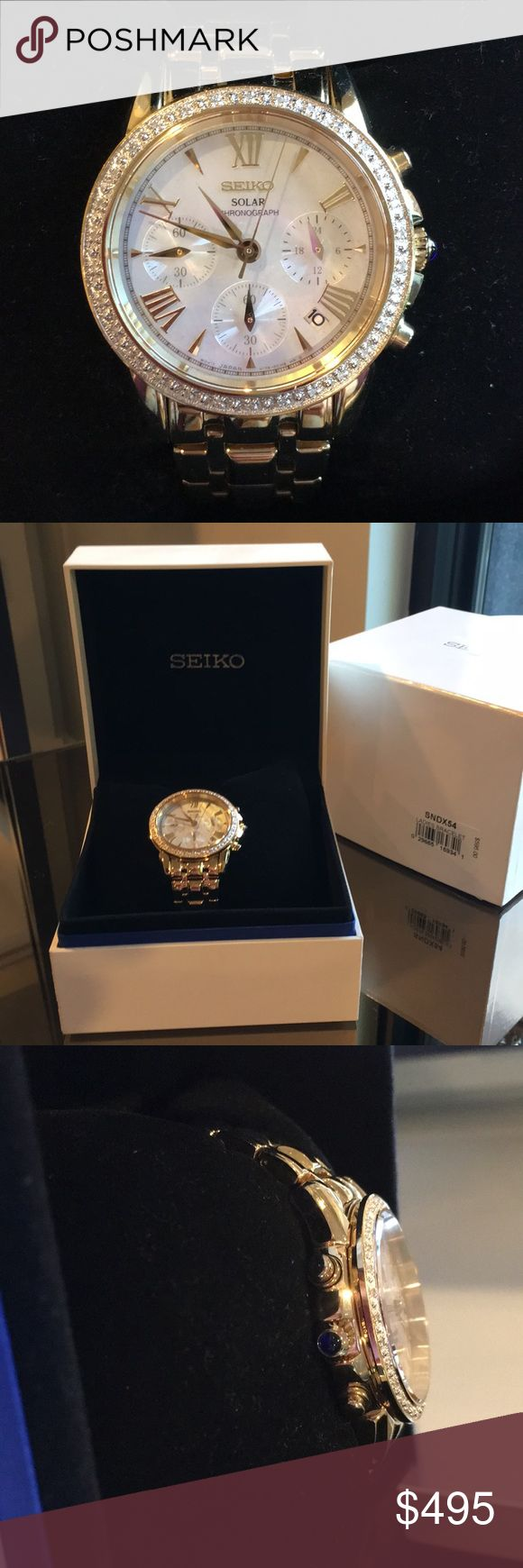 Women's Seiko Gold Diamond Solar Chronograph Watch Beautiful Gold and Diamond Seiko Solar Chronograph watch. Emerald blue dial. Hardly ever worn.  Great watch I currently just have too many gold watches. Seiko Accessories Watches