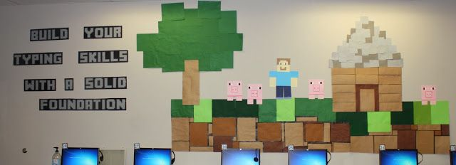 Teach the Bits and Bytes: Second Quarter Bulletin Boards- Minecraft Typing bulletin board