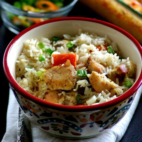 Chicken and Rice Casserole. Flavored with coconut milk. Gluten free, Dairy free recipe