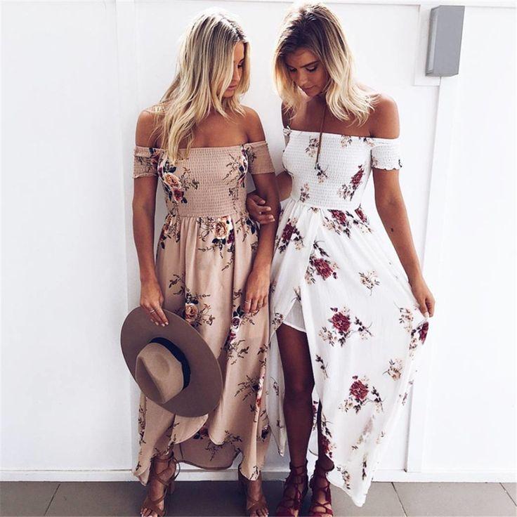 Off Shoulder Printed Khaki Long Summer Dress