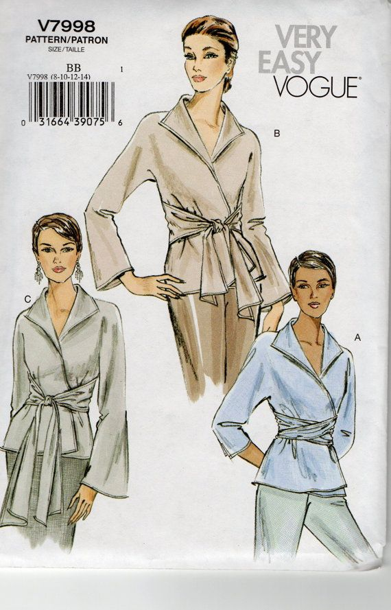 Vogue 7998 Very Easy Misses Wrap Blouse Pattern  Womens Sewing Pattern Size 8 - 14 Bust 31 1/2  - 36 Uncut on Etsy, Sold