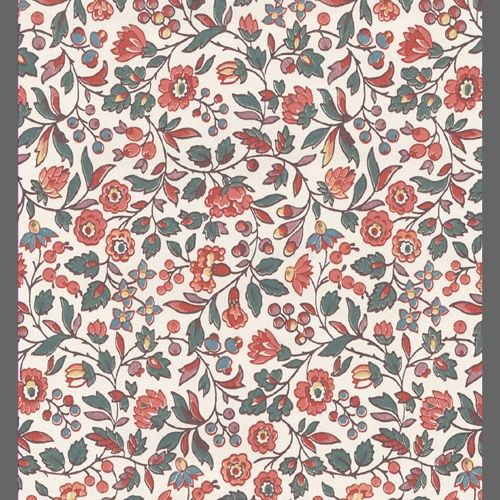 Coral and Beige traditional floral wallpaper: 540130 | Floral wallpaper