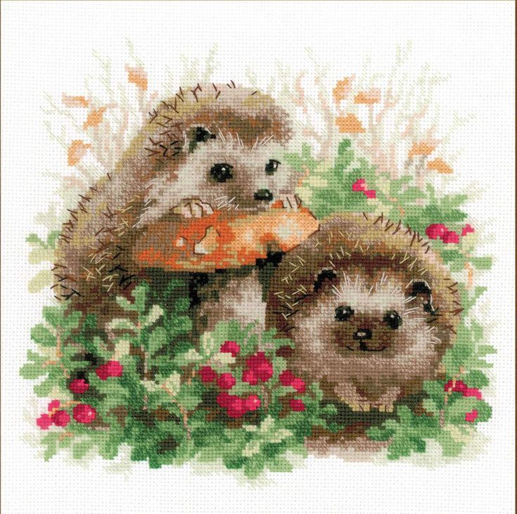 Cross Stitch Kit by Riolis - Hedgehogs In Cranberries by ArtfulStitchings on Etsy