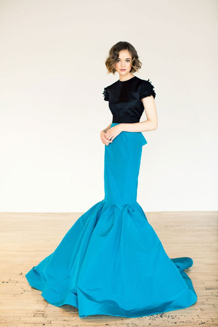 Katie Ermilio ~ teal exagerrated mermaid skirt