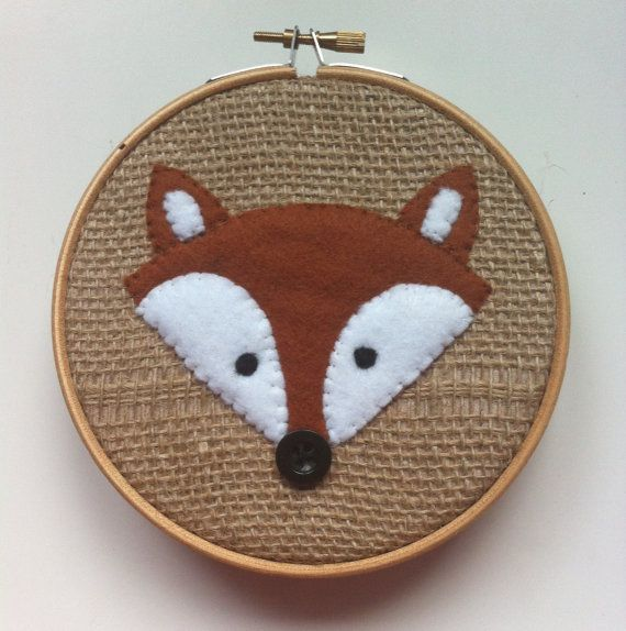 Hessian Sacking Felt fox embroidery hoop wall art - hand sewn onto fabric