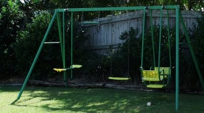 Metal swing set.