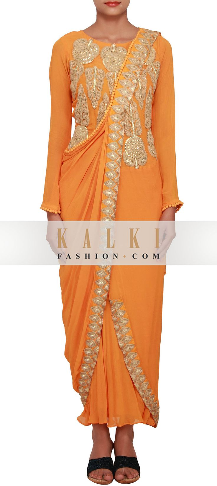 Buy Online from the link below. We ship worldwide (Free Shipping over US$100) http://www.kalkifashion.com/mustard-yellow-kurti-featured-in-georgette-embellished-with-gotta-patti-and-french-knot-only-on-kalki.html