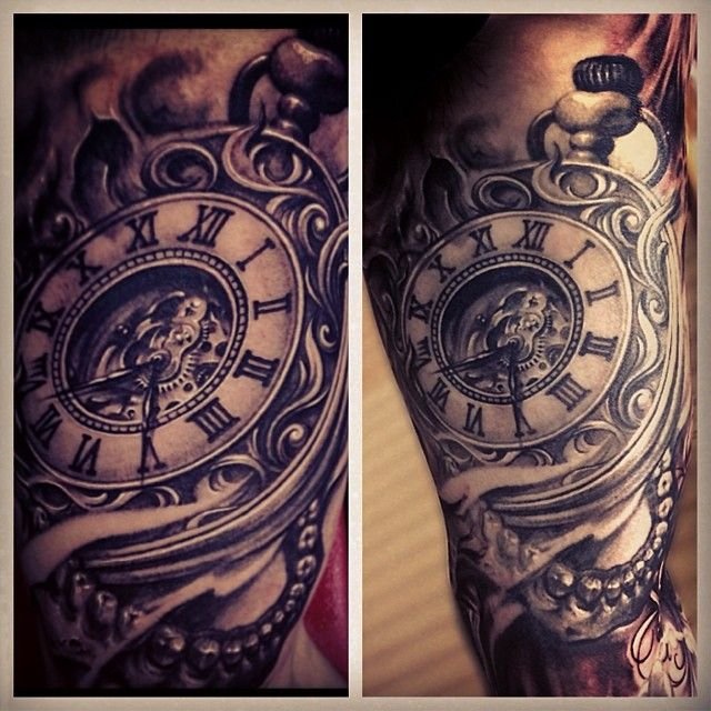 """@carlgracetattoos's photo: """"A little fresh and healed pic of this skull clock piece done over a year ago. #seveninchminimum"""""""