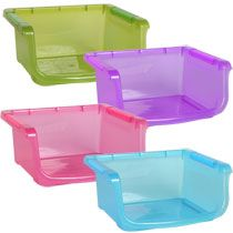Just bought one of these to use as a DIY hay rack for my new rabbit, Smudge.  It was super easy. I poked 2 holes on each side and zip tied it to his cage.  The bin holds much more hay than the expensive and TINY little hay racks at Petsmart and ever since I put his hay in there, he has been using his litter box and eating much more hay.  Win!!!