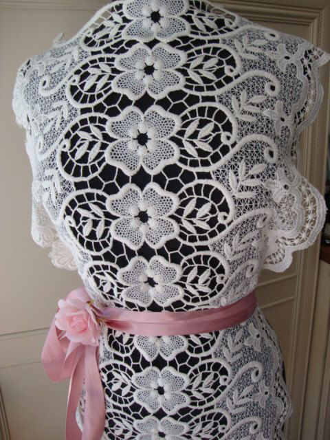 White Cotton Embroidered French