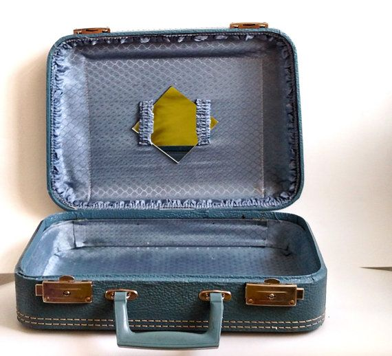 Retro Light Blue Aqua Travel Suitcase with Silver by awesome80s