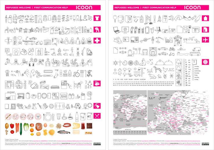 Flyer with 300 symbols and German-learning poster for free download / Erste-Hilfe Flugblatt mit 180 Symbolen und Deutsch-Lernhilfe-Poster zum freien Download | ICOON for refugees