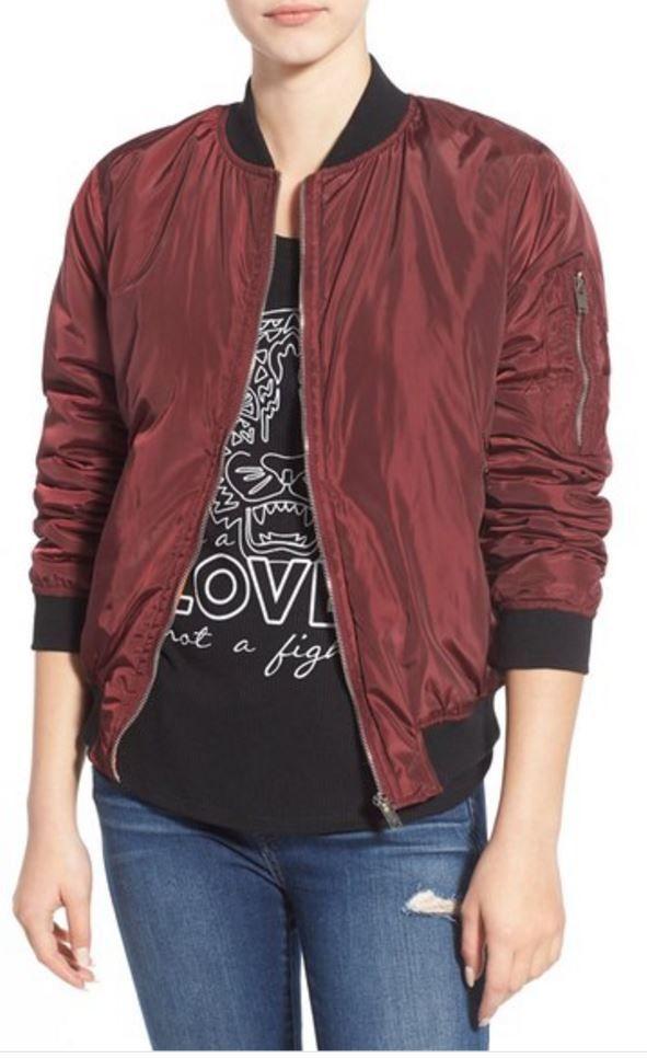 Missguided Bomber Jacket Maroon Burgundy Size 10 Street Style Fashion MSRP $88 #Missguided #BomberJacket