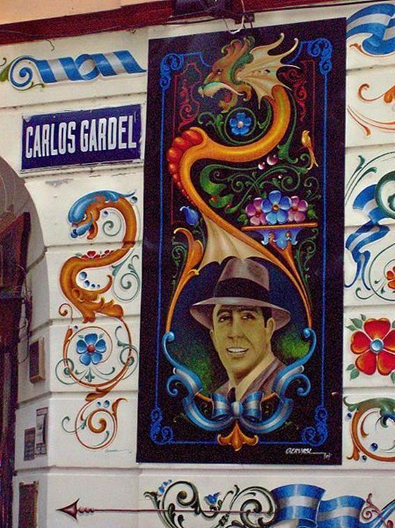 Fileteado en la calle Carlos Gardel. Barrio Abasto, Buenos Aires