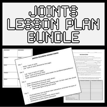 In this 4 day lesson plan bundle, you will teach your students about the 3 types of joints (synovial, cartilaginous, and fibrous), the 5 types of synovial joints (ex. ball and socket), and the movements allowed by synovial joints (ex. adduction). The bundle includes student notes, a thorough 7 page teacher script, a lab, a student drawing activity, a game of Simon Says, and an activity in which students evaluate popular dance choreography (ex. the wobble) and describe the dance moves using…