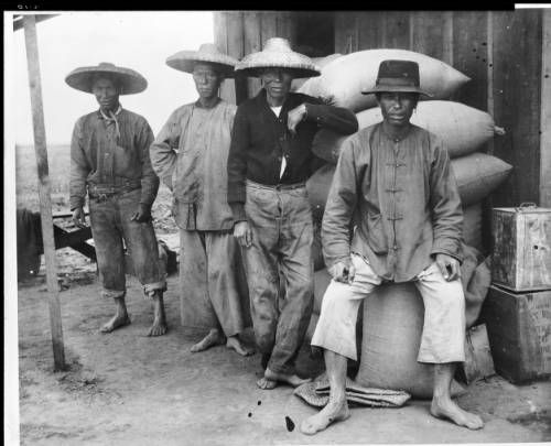 Four Chinese field hands standing near a building, ca.1898. http://digitallibrary.usc.edu/cdm/ref/collection/p15799coll65/id/11461