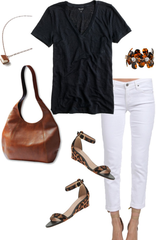 """""""black, white, cognac"""" by shopwithm ❤ liked on Polyvore"""