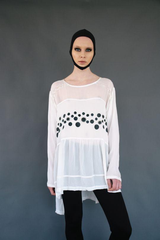 Silk blouse with pattern and swarovski elements www.maurizio.gr