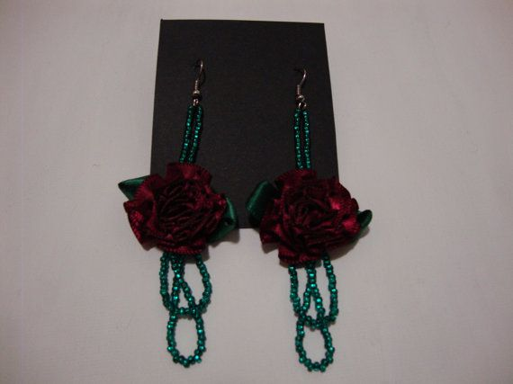 Unique Red Flower Bow Earring with Green Beads by OneGoldenCloud Great Christmas present!!!