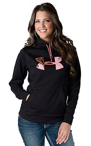 My AWESOME gift!!! ;) Under Armour® Women's Black with Pink Camo Logo Tackle Twill Hoodie | Cavender's