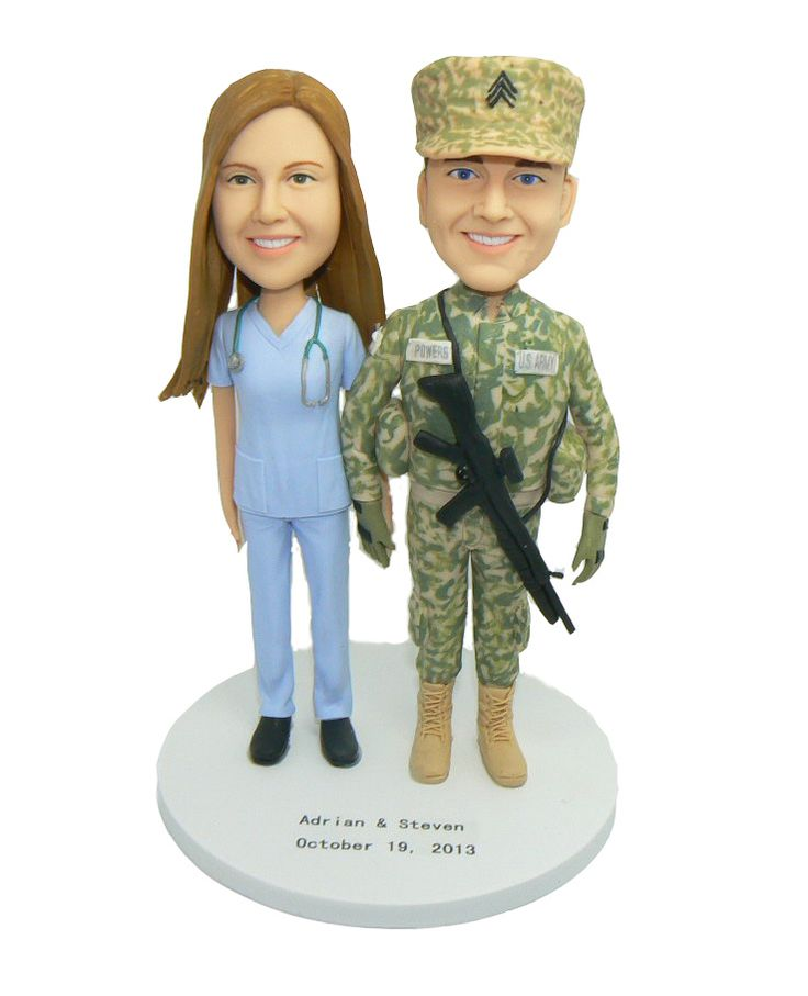 Army wedding cake toppers made from your very own photo to resemble your uniform, and pose.  Created in the exact image of your fatigues.