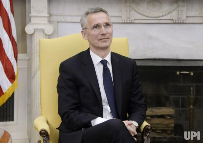 Secretary General Jens Stoltenberg of NATO looks on during a meeting with US President Donald Trump in the Oval Office of the White House…