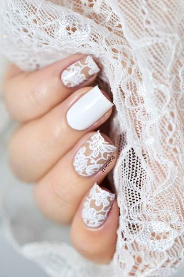 These 60 Wedding Nail Art Pics Will Perfectly Match With The Ring Lace Nail Art Lace Wedding Nails Wedding Nail Art Design