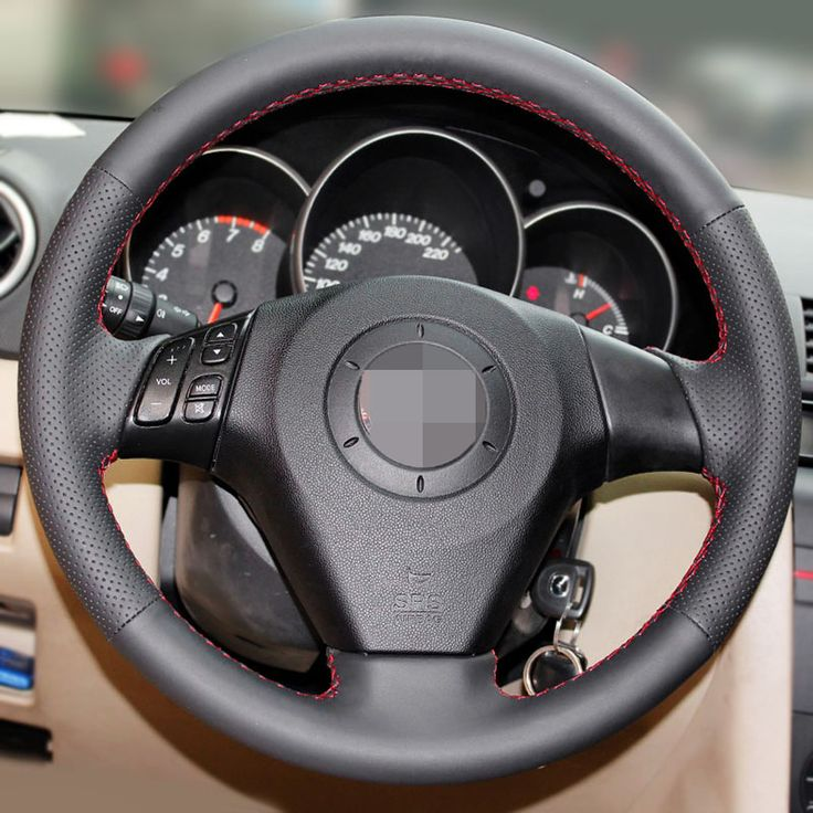 Black Artificial Leather Car Steering Wheel Cover for Old Mazda 3 Mazda 5 Mazda 6 2003-2009 #Affiliate