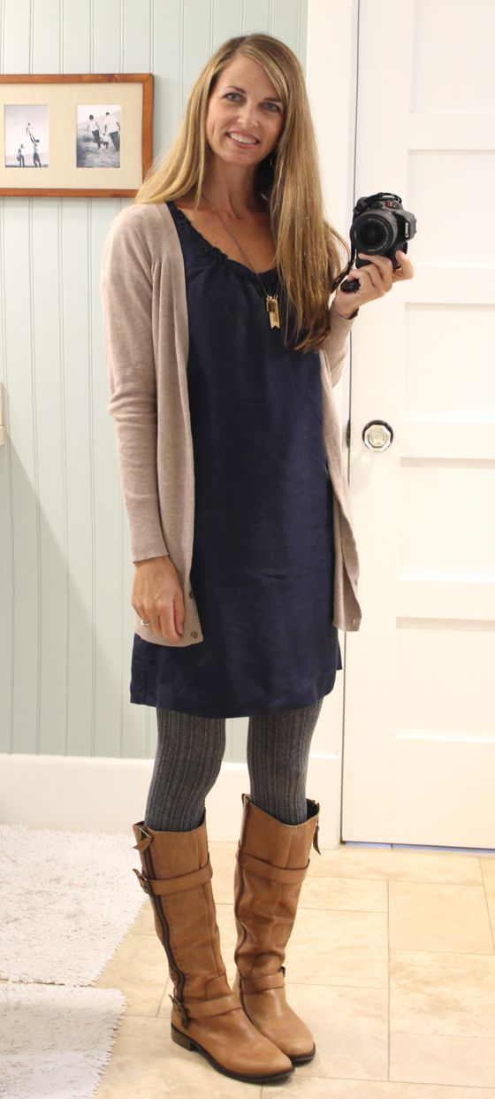 Dress with sweater tights, cardigan and boots - great casual fall fashion