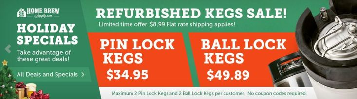 Refurbished Keg Sale at Home Brew Supply – kegs from $34.94 + Flat Rate Shipping #homebrew