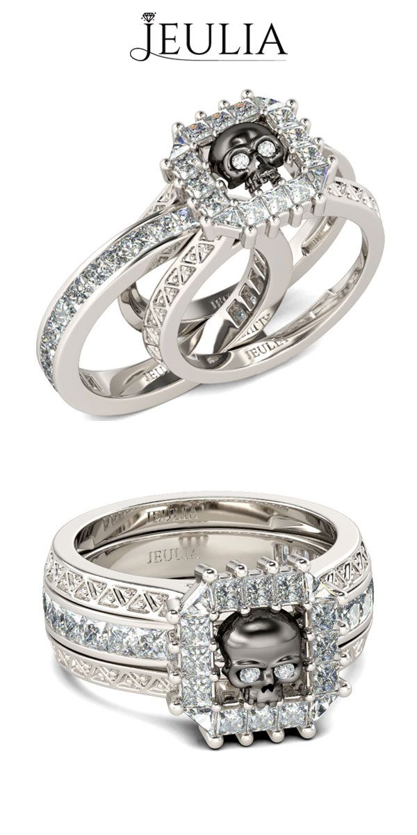 Interchangeable Halo Black Skull White Sapphire Rhodium Plated Sterling Silver Skull Ring #jeulia